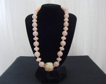 Vintage Pink Floral Hand painted Bead Necklace- Circa 1970's