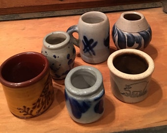 Six Miniature Crocks and Jugs- Five signed by the Artist or Potter including Eldreth Pottery