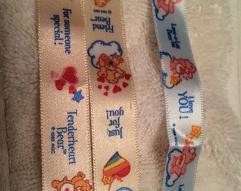 Vintage Care Bears Ribbons - 3 strips