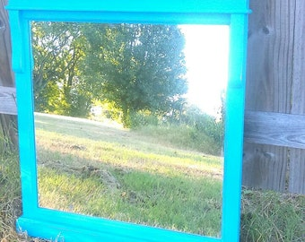 Distressed Turquoise Wooden Framed Mirror