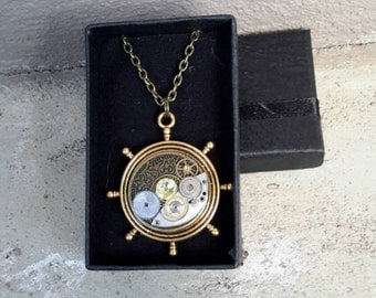 Nautical steampunk necklace pendant. Watch cogs and gears and Swarovski Crystal. Alchemy Alice Designs