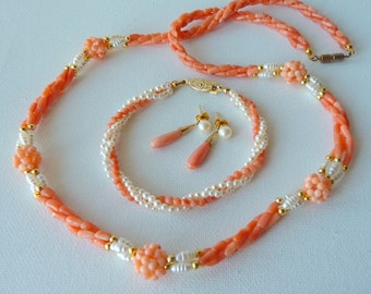 Angel Skin Coral Pearl Set, Vintage, Coral, Coral Bracelet, Coral Necklace, Coral Dangle Earrings, Retro Pink Coral Jewelry, Party, Bridal