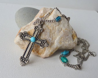 Faux Turquoise Cross Pendant Necklace  Silver Turquoise Cross Pendant, Vintage  Silver Cross, Blue Silver Necklace, Boho  70's Jewelry