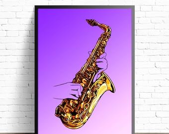 Saxophone Wall Art, Jazz Wall Decor, Saxophone Illustration, Music Home Decor, Jazz Art Print, Jazz Music Poster Print, Saxophone  Painting