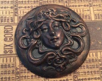 Darkened brass Victorian  woman flourish 35 mm