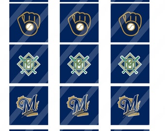 Milwaukee Brewers  digital collage sheet 8.5x11 2 inches square INSTANT DOWNLOAD