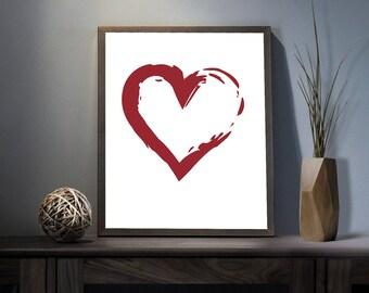 Heart Shape Symbol Digital Art Print - Inspirational Love Wall Art, Motivational Valentines Day Quote Art, Printable Heart Symbol Typography