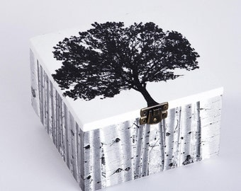 Wood box with decoupage - tree
