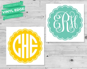 Scalloped Monogram Decal - Scalloped Monogram Custom Initial Decal - State car window bumper decal - Southern Monogram Decal  [MON0020]