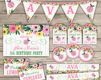 Party Package LadyBug Birthday Theme Rustic NV741
