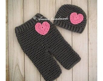 Baby girl crochet set,pants and hat,crochet baby beanie,crochet baby girl pants,newborn pants,baby shower gift,crochet hat and pants,