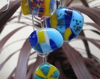 Fused glass pendant necklace.  Each one a rainbow of colours, lovely gift for her birthday or anniversary.