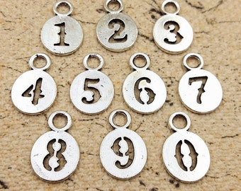 11mm 0-9 full set antique silver number charm pendant MT0626