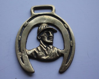 Vintage Jockey and Horse Shoe Horse Brass
