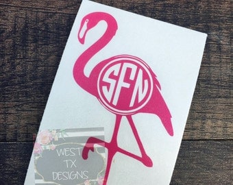 Flamingo Decal | Car Window Decal | Yeti Decal | Monogram Decal | Personalized Decal | Vinyl Decal for Tumbler | Flamingo Monogram