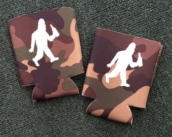 Drink till you believe Bigfoot Camo Beverage Cozy Pair (2)