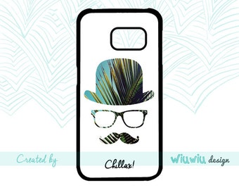 Mister Chillax Palm tree bowler hat Hipster glasses & mustache case for Samsung Galaxy phone cover for Samsung S3 S4 S5 S6 S7 S7 edge phones