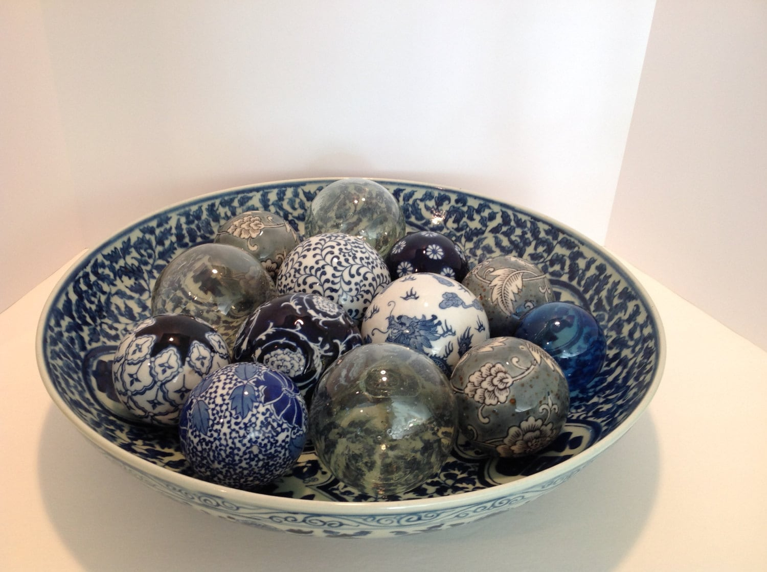 Extra Large Blue And White Bowl With 14 Ceramic Balls