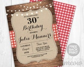 Birthday Invitations Invite Rustic Wood String BBQ Barn Lights INSTANT DOWNLOAD Digital Red Check Burlap Womens Mens Printable & Editable