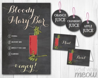 Bloody Mary Bar Sign Chalk Tags & Tents Signs Printables Tomato Bridal Party Baby Showers Bridal Party Labels INSTANT Download Edit Print