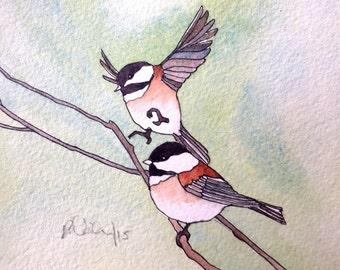 Art Card; Chestnut-backed Chickadee