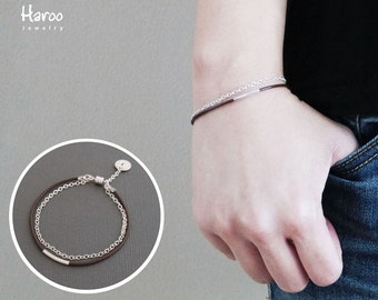 Personalized Leather and Silver Bracelet/Magnetic Clasp