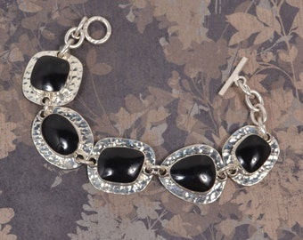 Sterling Silver with Black Onyx Stones, Signed CII Mexico Bracelet
