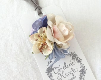 Blue Hydrangea & Ivory Rose Hair Clip Corsage Brooch
