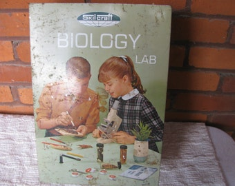 Home School Learning Toy Biology Lab by Skilcraft, Microscope and Science Lab kit from the 1950's, Vintage science toy