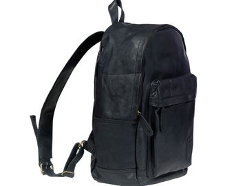 Leather Backpack Rucksack in Vintage Black by MAHI Leather