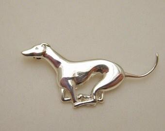 Running Greyhound Brooch in Sterling Silver