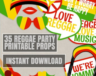 35 Reggae Props Printables, Reggae photo booth props, rasta theme party decor, party props, reggae photobooth prop, instant download