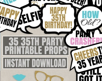 35 35th Birthday photo booth printable props, turning 35 diy party, black white faux gold glitter, photobooth props thirty birthday party