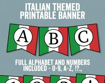 Italian Flag Bunting Printable, Any phrase, DIY Italy party banner, bunting diy alphabet, italy theme banner, diy italian party decor