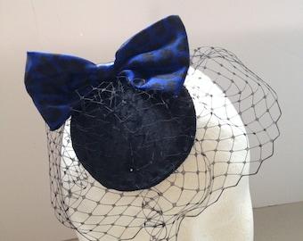 Blue and black leopard print bow fascinator hat