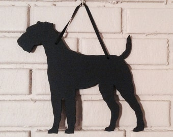Wire Hair Fox Terrier Handmade Chalkboard Wirehaired Wall Hanging - Dog Shadow Silhouette - Country Decoration - Great Gift
