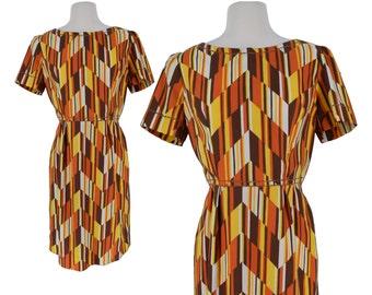 Vintage Dress, 1960s Dress, 60s Dress, Orange Yellow Vintage Dress, Mod Dress, 60s Mod Dress, Geometric, Psychedelic, Cotton Dress, Medium