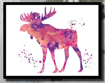 Moose Watercolor Art Print Deer Watercolor Moose poster Horn art Moose Gift Moose poster Moose nursery Reindeer Nursery wall art Moose print