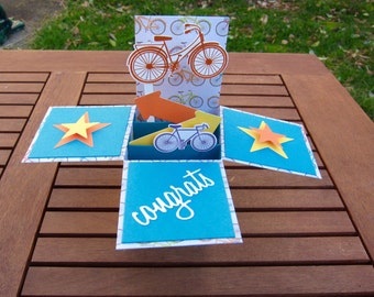 Bicycle Card-in-a-Box, Thank You Note or Congrats Card, Stationery, Bicycle Card, Stamped Card, Bike Greeting Card  and Envelope