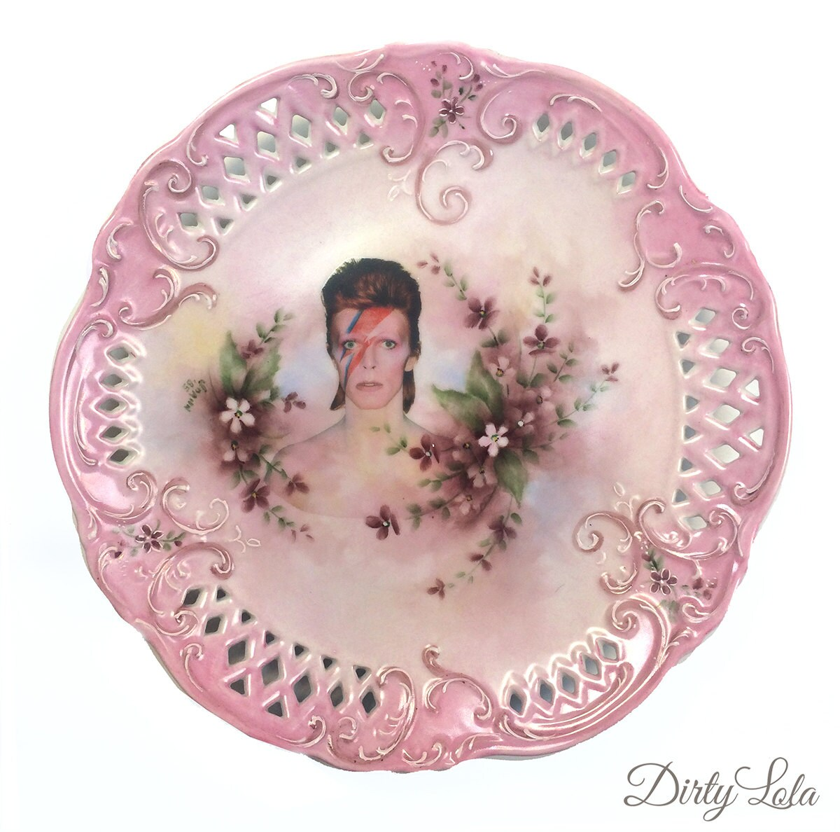 Vintage Illustrated David Bowie Plate Wall Display