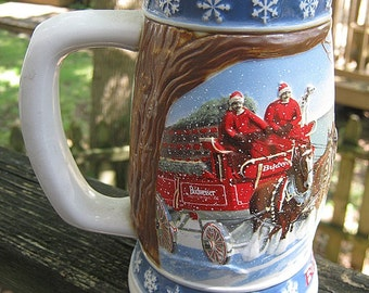 "Budweiser Beer Stein, 1995 Holiday Stein, ""Lighting The Way Home"", Handcrafted In Brazil, Vintage Barware, Ceramarte, Clydesdale Horses"