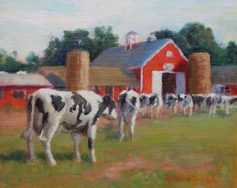 Cows, Barn, Original Oil Painting,
