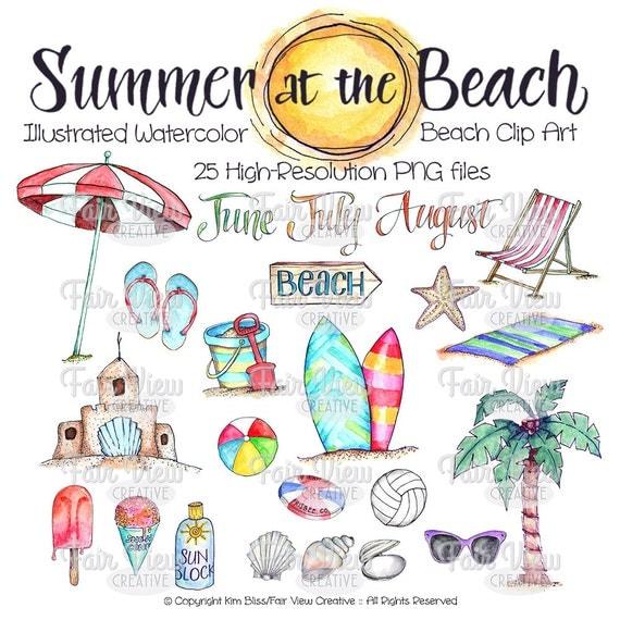 Summer Beach Clipart Watercolor Illustrations High Resolution