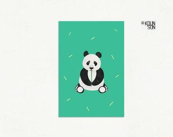 "Giant Panda Postcard, 4""x6"", Endangered Animal, Illustration, Art print"