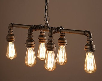 Industrial Pipe Chandeliers 6 lights Metal Fixture Dinning Table light Bar pendant Foyer chandelier