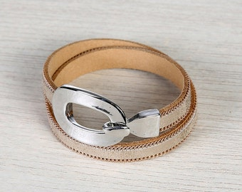 Metallic Bracelet, Leather Bracelet, Rustic Jewelry, Wrap Bracelet, Metallic Jewelry, Leather Jewelry - Metallic Leather Hope Wrap