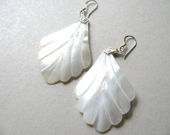 "Shell earrings, carved shell, dangle earrings, 2"" long, 1 and 1/4"" wide, lightweight, Sterling findings, white shell - 952"