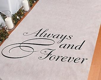 Wedding Isle Runner Always and Forever 3 Feet x 100 Feet