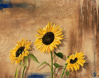 Sunflower art print...Happy Place...8x10 fine art print...great gift idea...brown yellow and blue colors