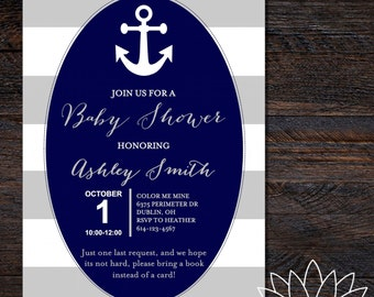 Anchor Baby Shower Invitation (Printable)